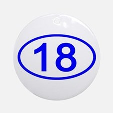 Number 18 Oval Ornament (Round)