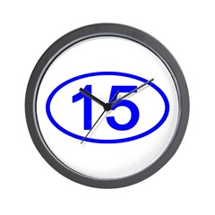 Number 15 Oval Wall Clock