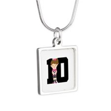 Soccer Sports Number 10 Silver Square Necklace
