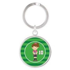 Soccer Sports Number 10 Round Keychain
