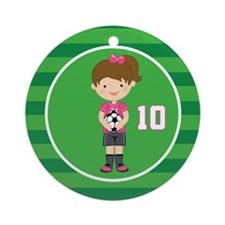 Soccer Sports Number 10 Ornament (Round)