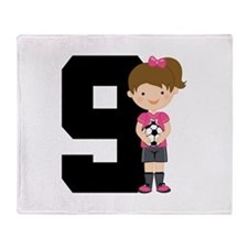 Soccer Sports Number 9 Throw Blanket