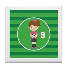Soccer Sports Number 9 Tile Coaster
