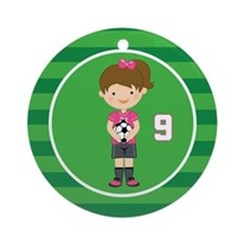 Soccer Sports Number 9 Ornament (Round)
