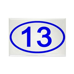 Number 13 Oval Rectangle Magnet (100 pack)