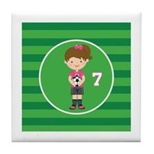 Soccer Sports Number 7 Tile Coaster
