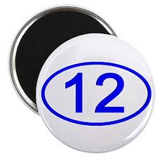 Number 12 Oval Magnet