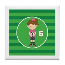 Soccer Sports Number 6 Tile Coaster