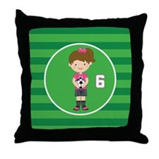Soccer Sports Number 6 Throw Pillow