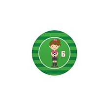 Soccer Sports Number 6 Mini Button