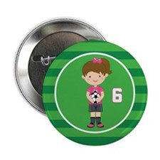 "Soccer Sports Number 6 2.25"" Button"