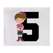Soccer Sports Number 5 Throw Blanket