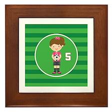Soccer Sports Number 5 Framed Tile
