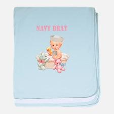 Navy Brat Baby Girl (Pink) baby blanket