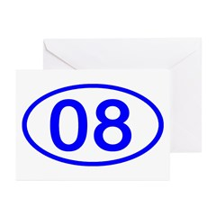 Number 08 Oval Greeting Cards (Pk of 10)