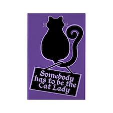 Cat Lady Purple Rectangle Magnet