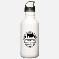 Grand rapids logo white and black Water Bottle
