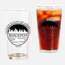 Houston logo white and black Drinking Glass