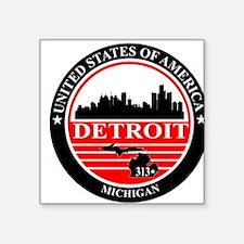Detroit logo black and red Sticker