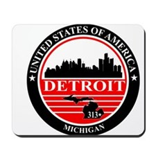 Detroit logo black and red Mousepad