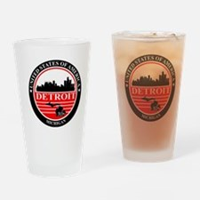 Detroit logo black and red Drinking Glass