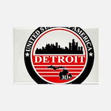 Detroit logo black and red Rectangle Magnet