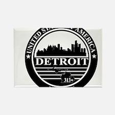 Detroit logo black and white Rectangle Magnet