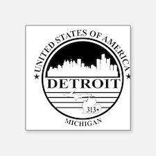 Detroit logo white and black Sticker