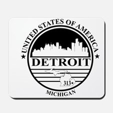 Detroit logo white and black Mousepad