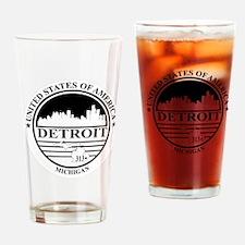 Detroit logo white and black Drinking Glass