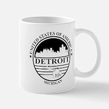 Detroit logo white and black Mug