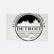 Detroit logo white and black Rectangle Magnet