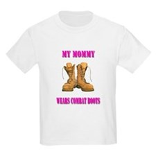My Mommy Wears Combat Boots (Pink) T-Shirt