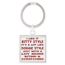 I Like It Kitty Style Square Keychain