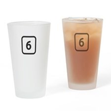 number 6 six Drinking Glass