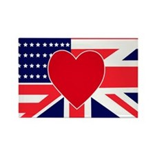 USA & UK Love Rectangle Magnet