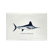 White Marlin Logo Rectangle Magnet