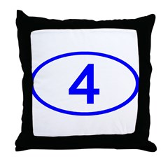 Number 4 Oval Throw Pillow