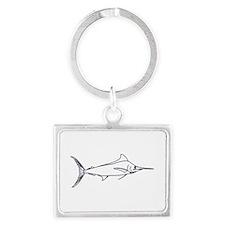 Blue Marlin Logo (line art) Keychains
