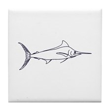 Blue Marlin Logo (line art) Tile Coaster
