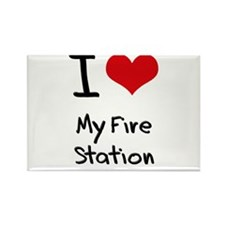 I Love My Fire Station Rectangle Magnet