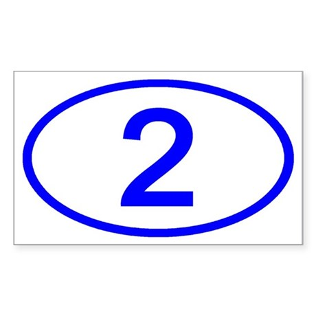 Number 2 Oval Rectangle Sticker