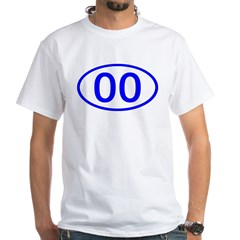 Number 00 Oval Premium White T-Shirt
