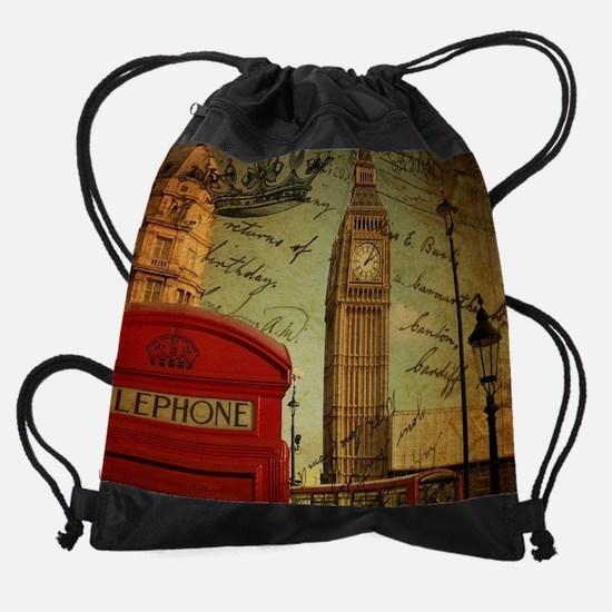 vintage London UK fashion Drawstring Bag
