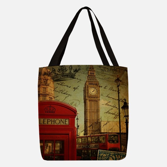 vintage London UK fashion Polyester Tote Bag