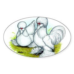 Sultan Bantam Chickens Oval Decal
