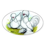 Sultan Bantam Chickens Oval Sticker