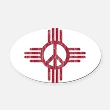 New Mexico Peace Sign Oval Car Magnet