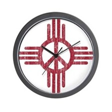 New Mexico Peace Sign Wall Clock