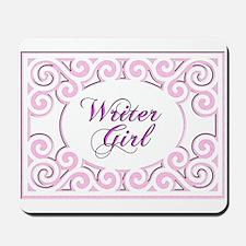 Swirly Writer Girl in pink white Mousepad
